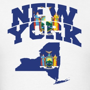 New York Flag in New York Map T-Shirt  - Men's T-Shirt