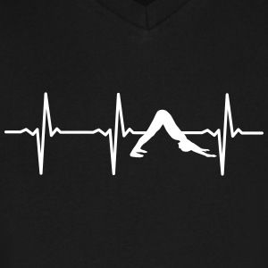 Heartbeat Yoga T-Shirts - Men's V-Neck T-Shirt by Canvas