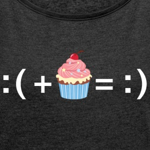 Formula For Happiness (Cupcake) T-Shirts - Women´s Rolled Sleeve Boxy T-Shirt