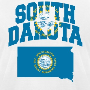 South Dakota Flag In South Dakota Map Tee - Men's T-Shirt by American Apparel