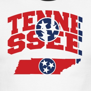Tennessee Flag In Tennessee Map Ringer Tee - Men's Ringer T-Shirt