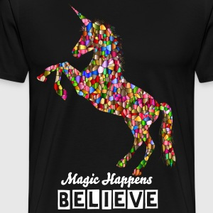 Men's T Shirt Unicorn, Magic, Believe - Men's Premium T-Shirt