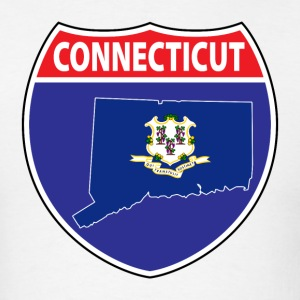Connecticut Flag Map Highway Sign Tee - Men's T-Shirt
