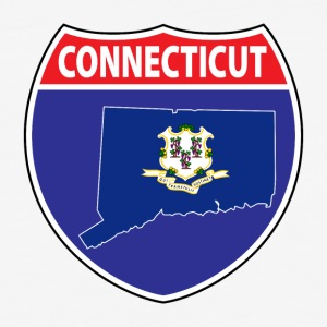 Connecticut Flag Map Highway Sign Tee - Baseball T-Shirt