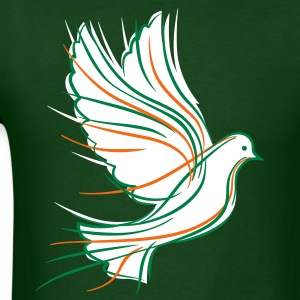 White dove with green and orange - Men's T-Shirt