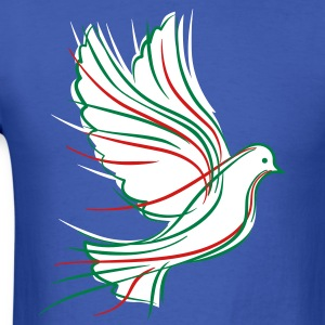 White dove with green and red - Men's T-Shirt