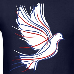 White dove with blue and red - Men's T-Shirt