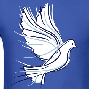 White dove with blue ribbons - Men's T-Shirt
