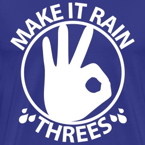 Make it rain threes T - White Print - Men's Premium T-Shirt