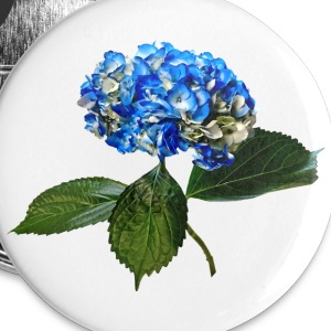 Blue Hydrangea With Leaves Buttons - Large Buttons