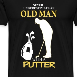 Golfer - An old man with a putter - Men's Premium T-Shirt