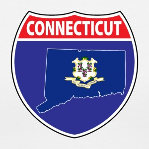 Connecticut Flag Map Highway Sign Tee - Women's V-Neck T-Shirt