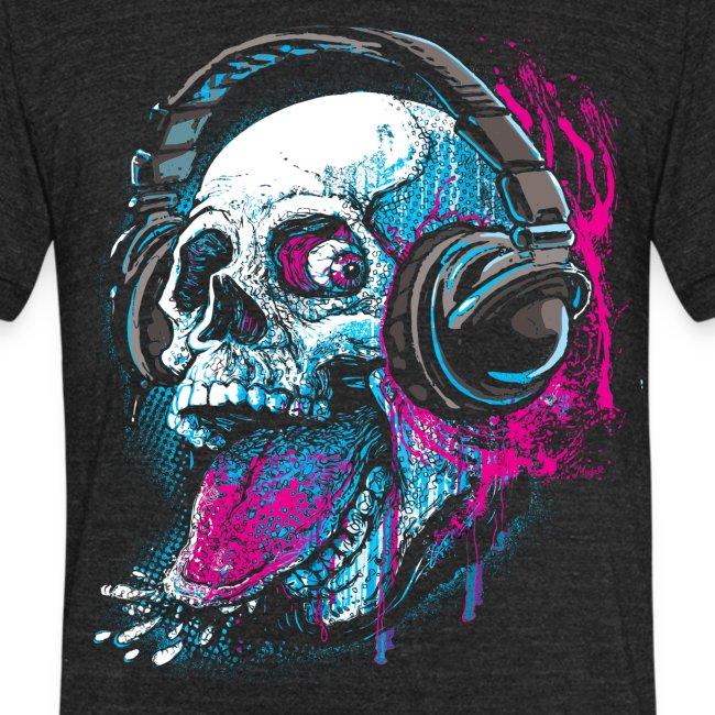 Skull Givin' Raspberry Dk | Unisex Tri-Blend T-Shirt
