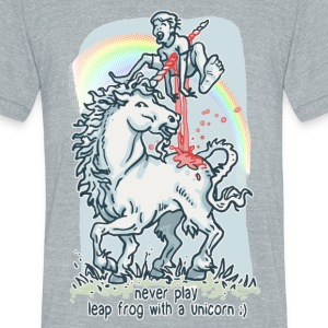 Unicorn Leap  Frog - Unisex Tri-Blend T-Shirt by American Apparel