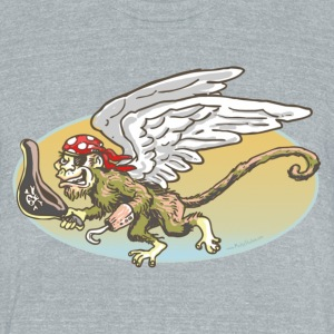 Flying Monkey Pirate - Unisex Tri-Blend T-Shirt by American Apparel