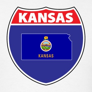 Kansas Flag Hwy Sign T-Shirt - Men's T-Shirt