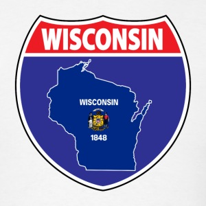 Wisconsin flag us hwy sign t-shirt - Men's T-Shirt
