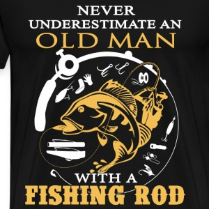 Fishing - An old man with a fishing rod - Men's Premium T-Shirt