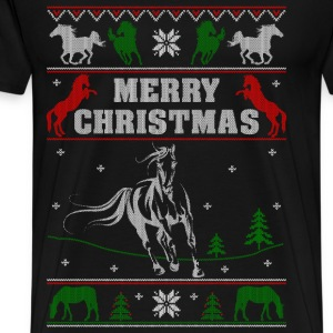 Ugly Christmas sweater for horse lover - Men's Premium T-Shirt