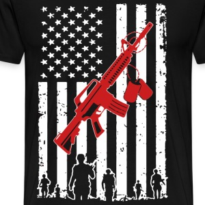 Army veteran American flag - Men's Premium T-Shirt
