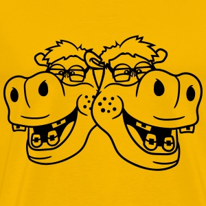 team buddies 2 couple duo head face nerd geek smar T-Shirts - Men's Premium T-Shirt