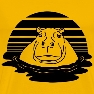 sun evening moon sunset hippopotamus thick water s T-Shirts - Men's Premium T-Shirt