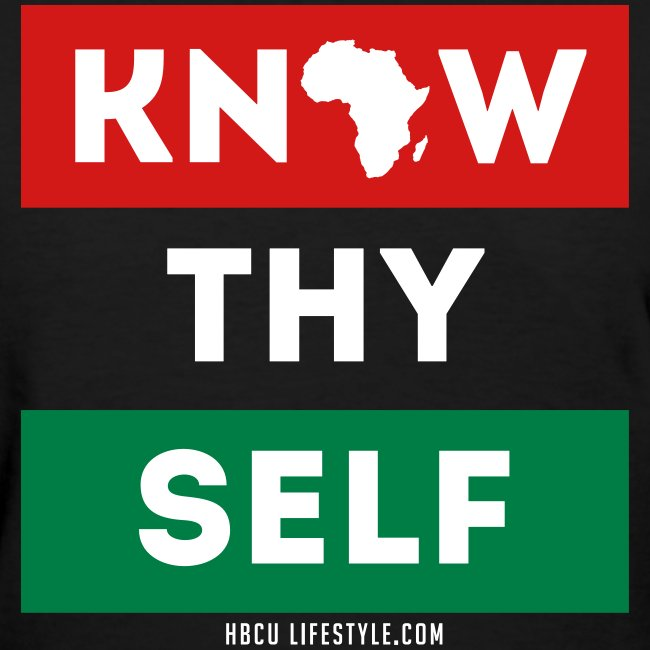 Know Thy Self - Women's Red, Black, and Green T-shirt