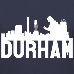 Women's Durham Skyline Godzilla V-Neck (White) - Women's V-Neck T-Shirt