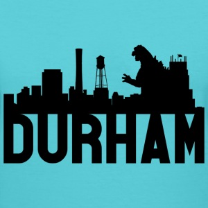 Women's Durham Skyline Godzilla V-Neck (Black) - Women's V-Neck T-Shirt