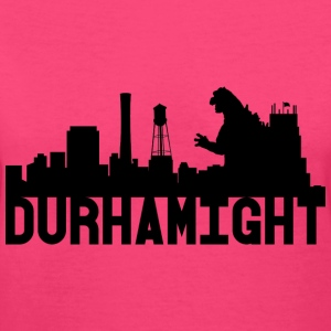 Women's Durhamight Skyline Godzilla V-Neck (Black) - Women's V-Neck T-Shirt