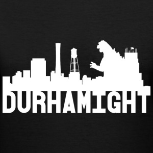 Women's Durhamight Skyline Godzilla V-Neck (White) - Women's V-Neck T-Shirt