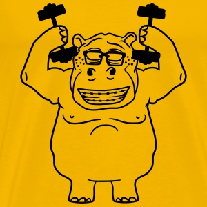 dumbbells strong muscles bodybuilding nerd geek hi T-Shirts - Men's Premium T-Shirt