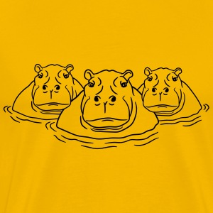 3 friends team group family hippopotamus thick wat T-Shirts - Men's Premium T-Shirt
