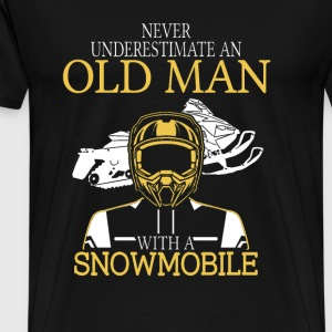 Snowmobile - An old man with a snowmobile t - shir - Men's Premium T-Shirt