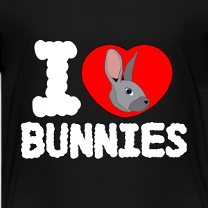 I Love Bunnies Black T-Shirt - Kids' Premium T-Shirt