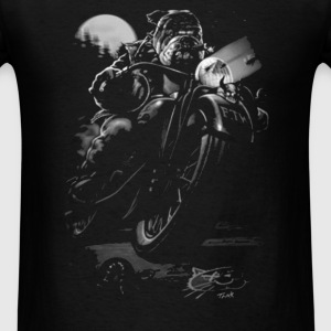 Cats Suck Bulldog On Chopper Motorcycle - Men's T-Shirt