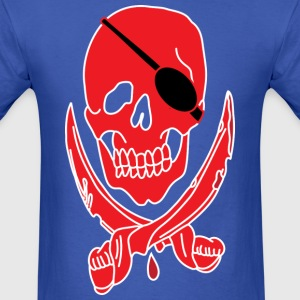 Skull with cross swords blue t shirt - Men's T-Shirt