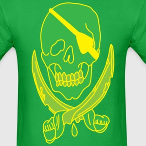 skull with cross swords green t shirt - Men's T-Shirt