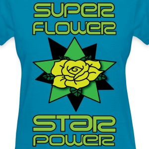 super flower star power women's cyan t shirt - Women's T-Shirt