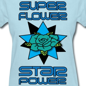 super power star flower women's light blue t shirt - Women's T-Shirt
