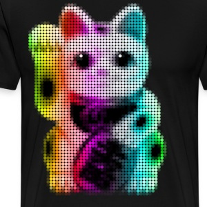 Pop Art Circles Lucky Cat - Maneki Neko - Men's Premium T-Shirt