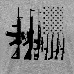 Big American Flag With Machine Guns T-shirt - Men's Premium T-Shirt