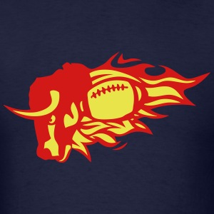 american football flame fire bull logo T-Shirts - Men's T-Shirt