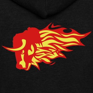 fire flame bull animal 3020 Zip Hoodies & Jackets - Unisex Fleece Zip Hoodie by American Apparel
