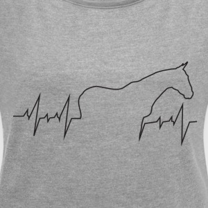 Heartbeat Horse - Women's Roll Cuff T-Shirt