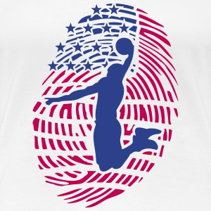 basketball fingerprint american flag usa T-Shirts - Women's Premium T-Shirt