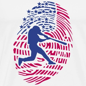 baseball american fingerprint usa flag T-Shirts - Men's Premium T-Shirt