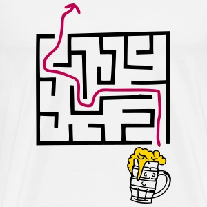 beer labyrinth path mouth T-Shirts - Men's Premium T-Shirt
