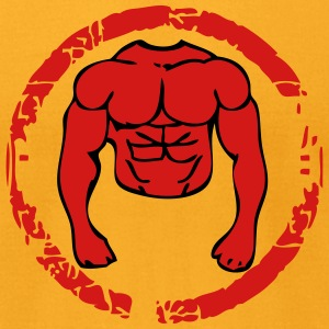 body muscular athlete bodybuilder circle T-Shirts - Men's T-Shirt by American Apparel