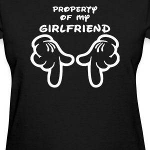 Property Of My Girlfriend Cartoon Hands Funny - Women's T-Shirt
